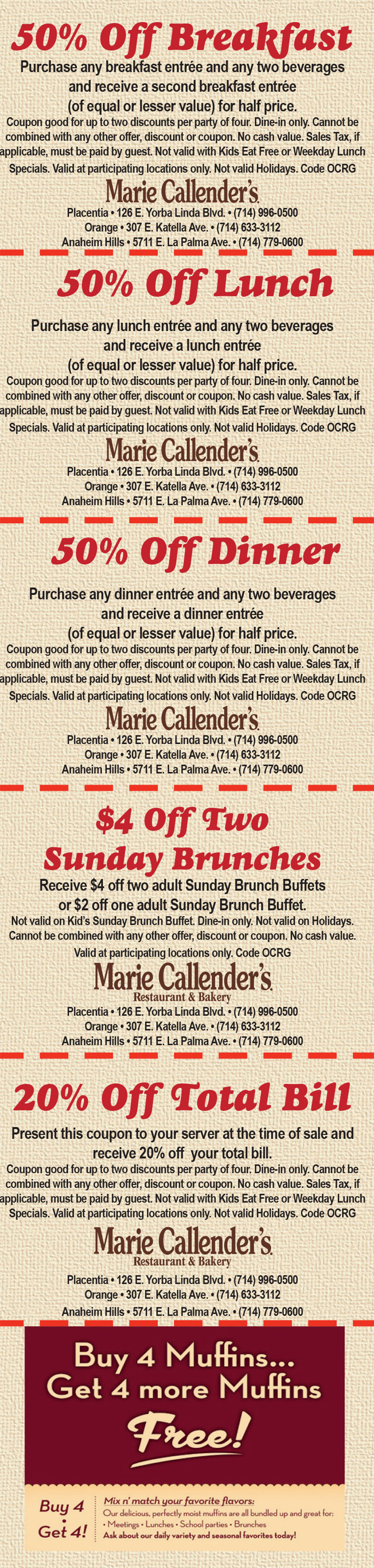 Marie Callender S Orange Oc Restaurant Guides