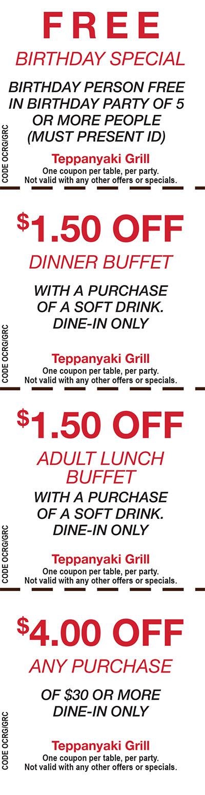 Teppanyaki grill coupons