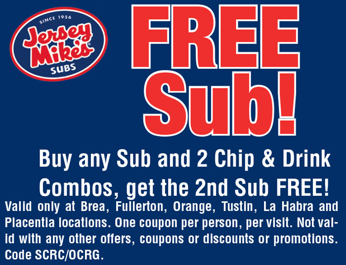 Jersey mike's coupon march 2018
