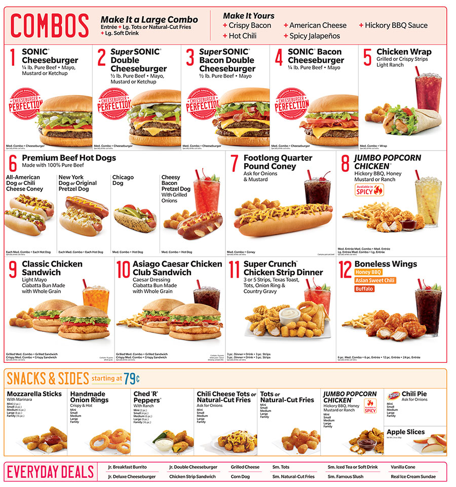 Sonic is a member of the hamburger segment of fast food restaurants, so the menu consists of some classic fast food items, such as hamburgers, and french fries as well as other