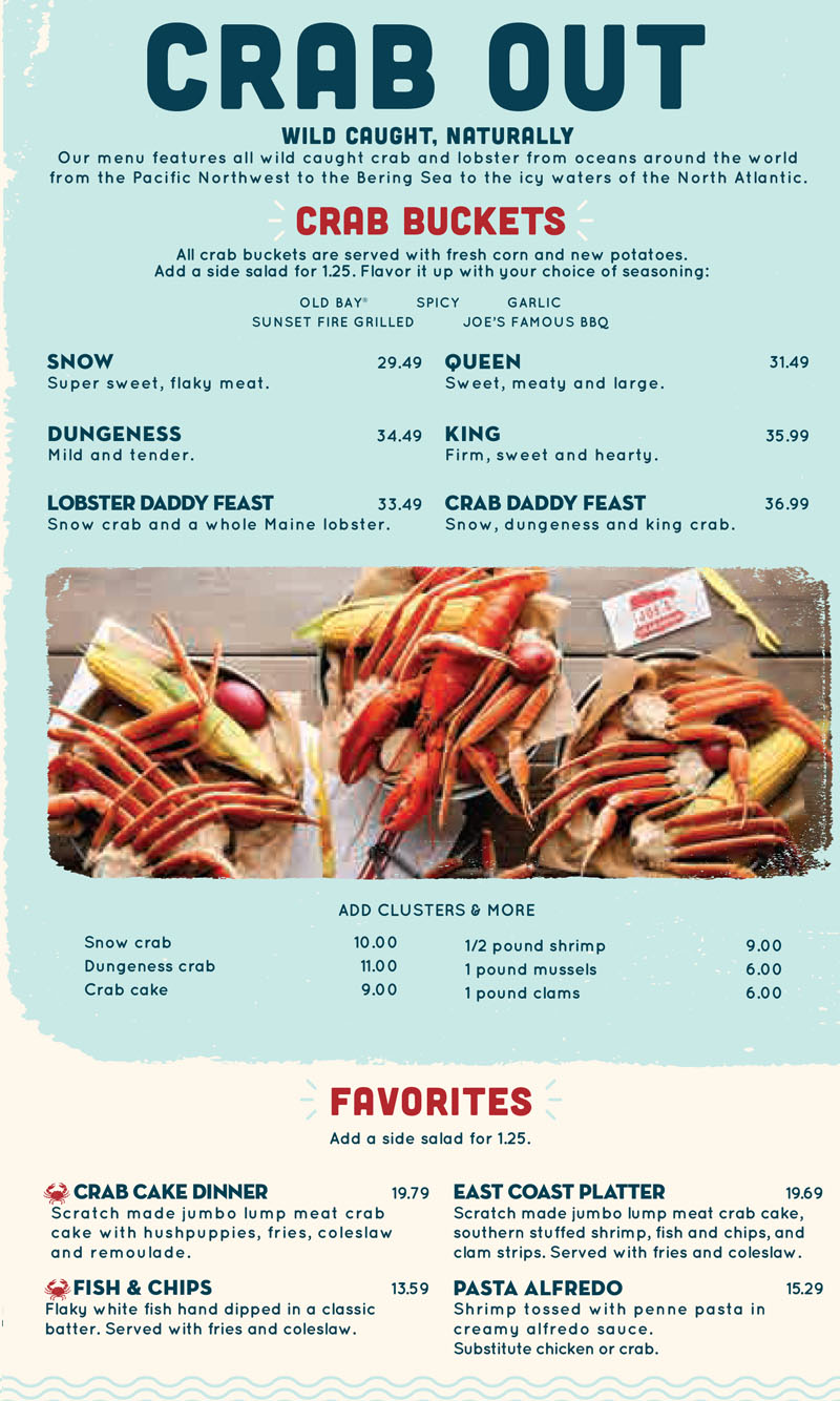 Joe S Crab Shack Menu Oc Restaurant Guides