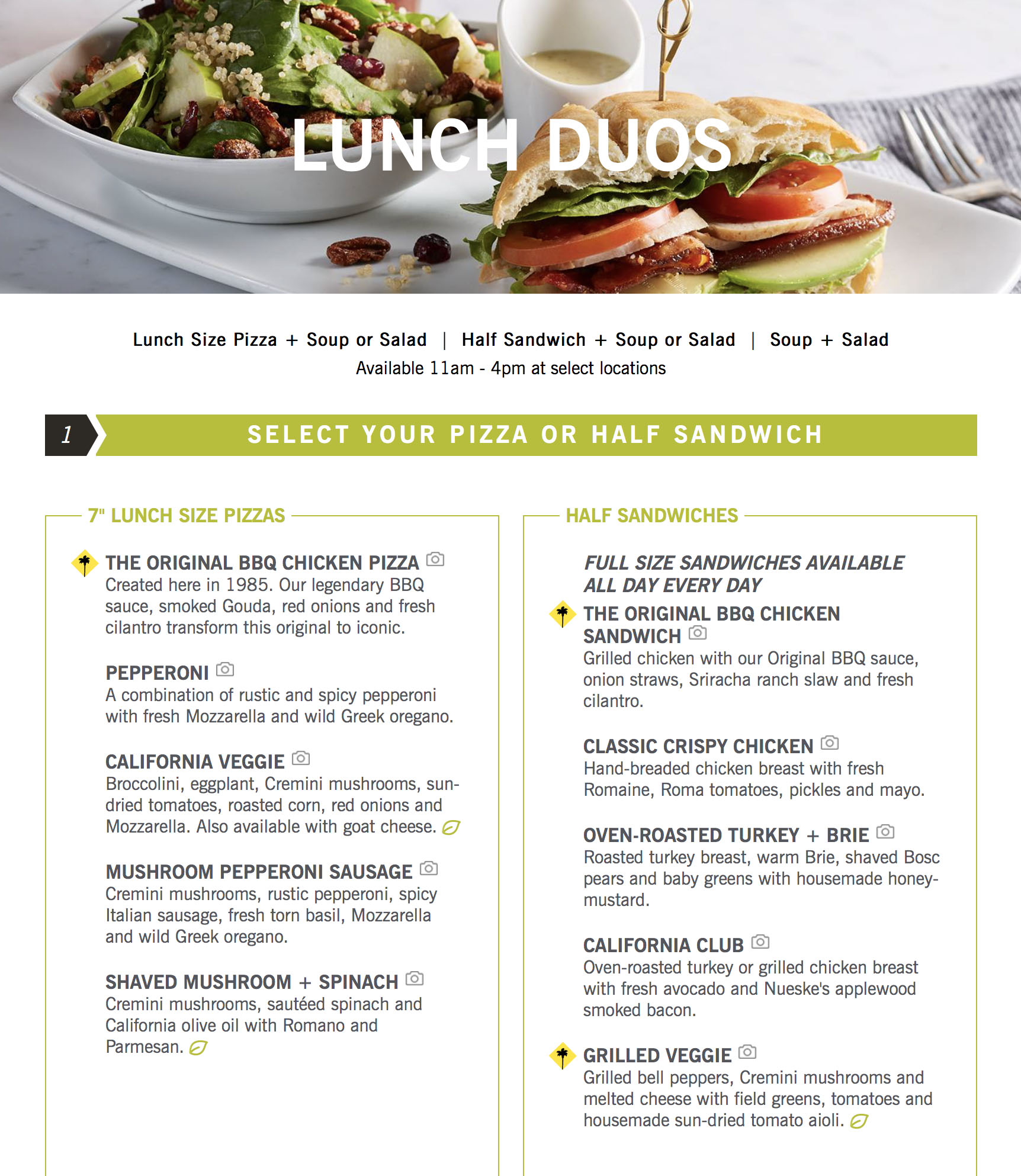 California Pizza Kitchen Mission Viejo Menu