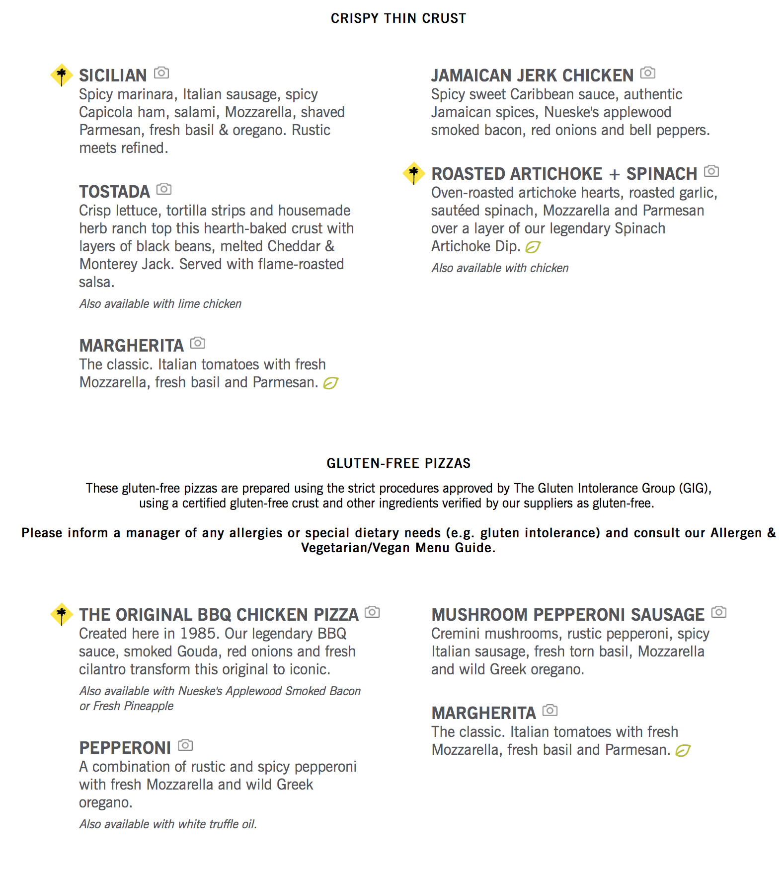 California Pizza Kitchen Allergen Information