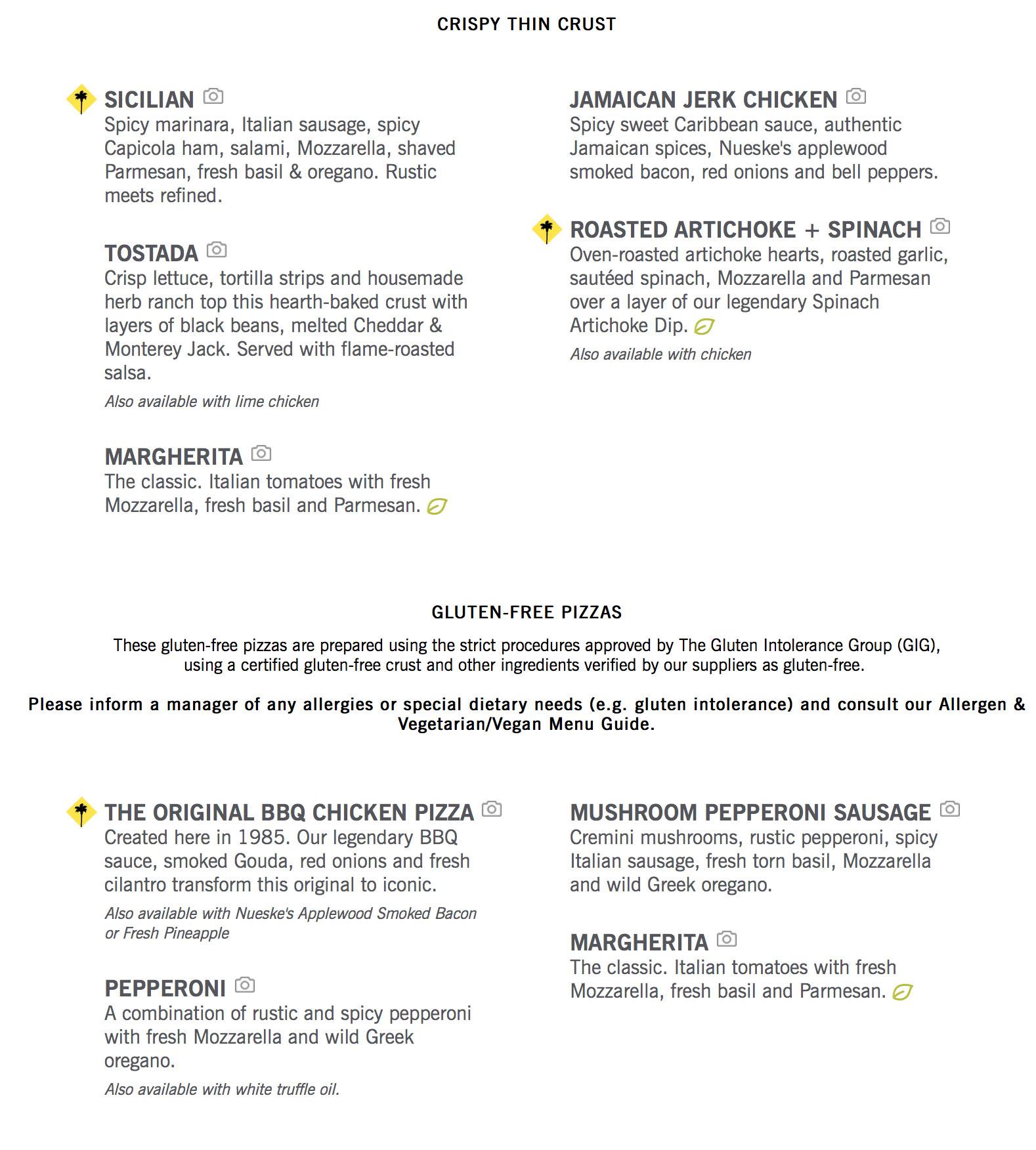 California Pizza Kitchen Menu | OC Restaurant Guides