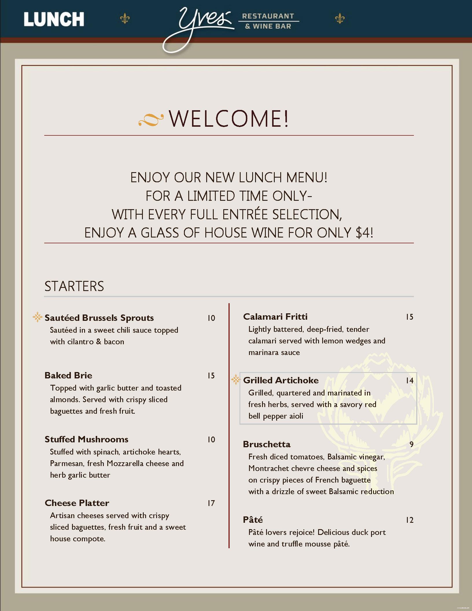Yves\' Restaurant & Wine Bar Menu | OC Restaurant Guides